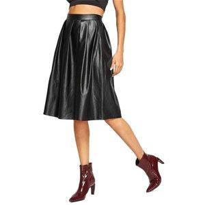 Dresses & Skirts - Faux Leather Pleated A-Line Skirt